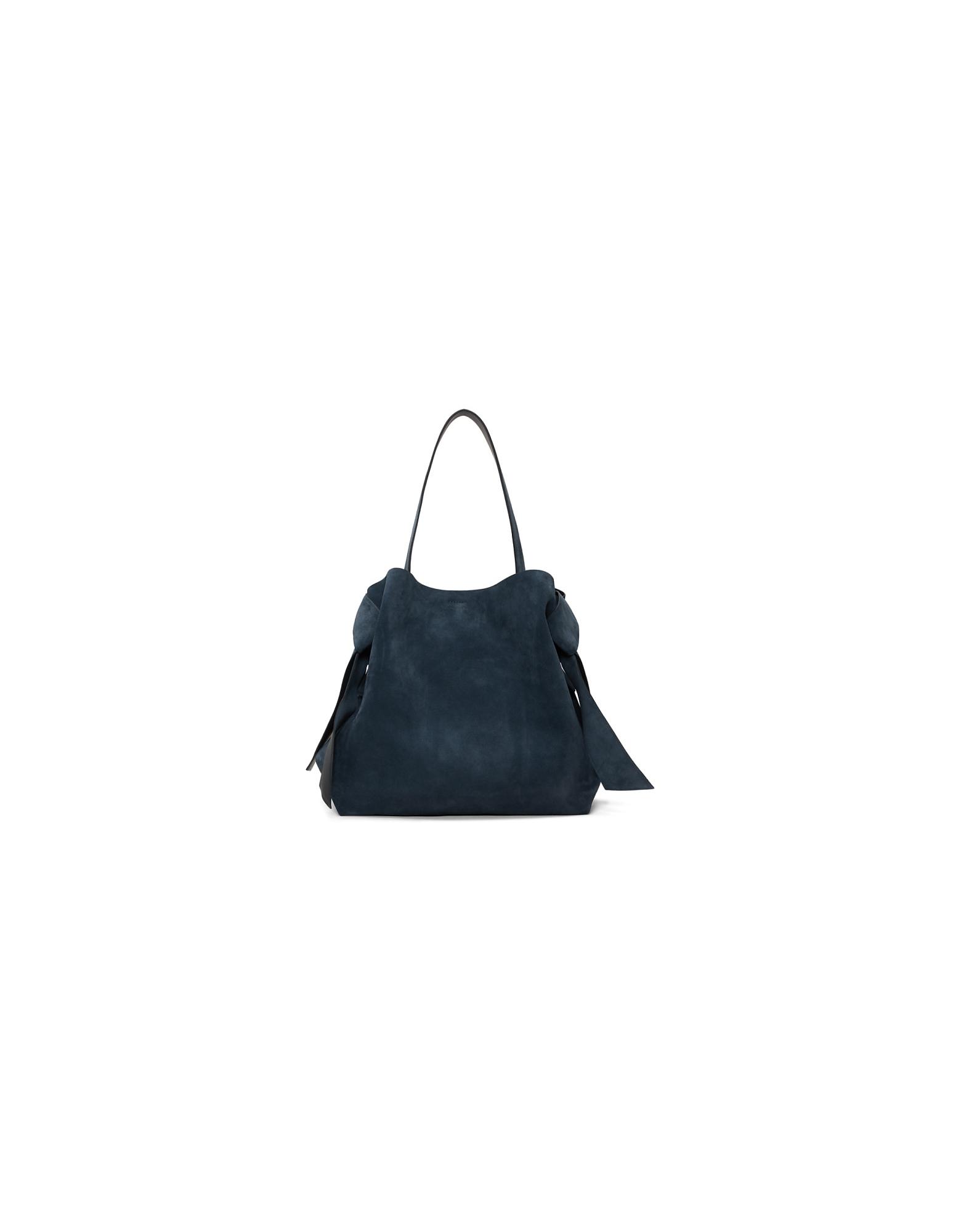 Acne Studios Designer Handbags, Navy Suede Maxi Musubi Bag