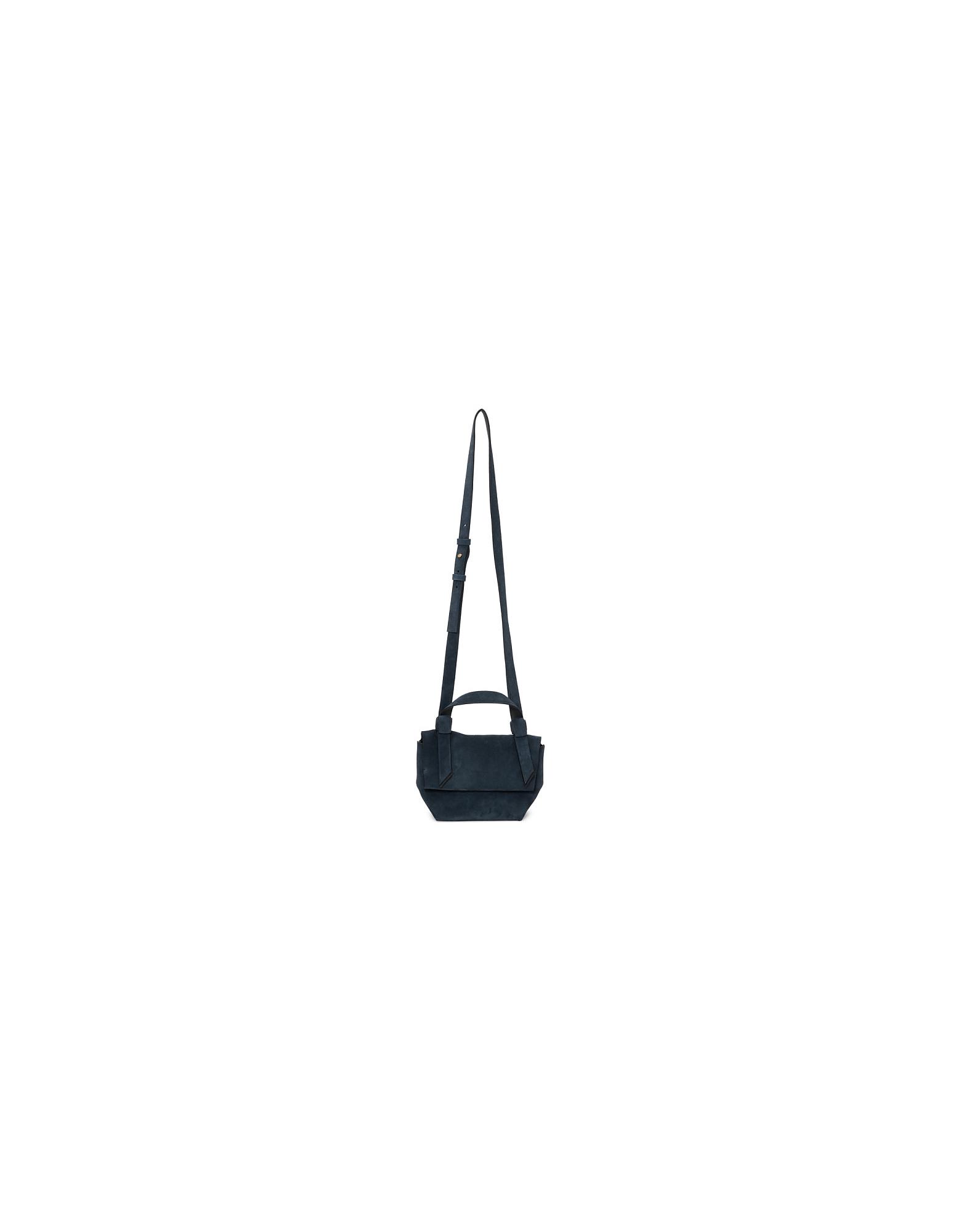 Acne Studios Designer Handbags, Navy Suede Musubi Milli Bag