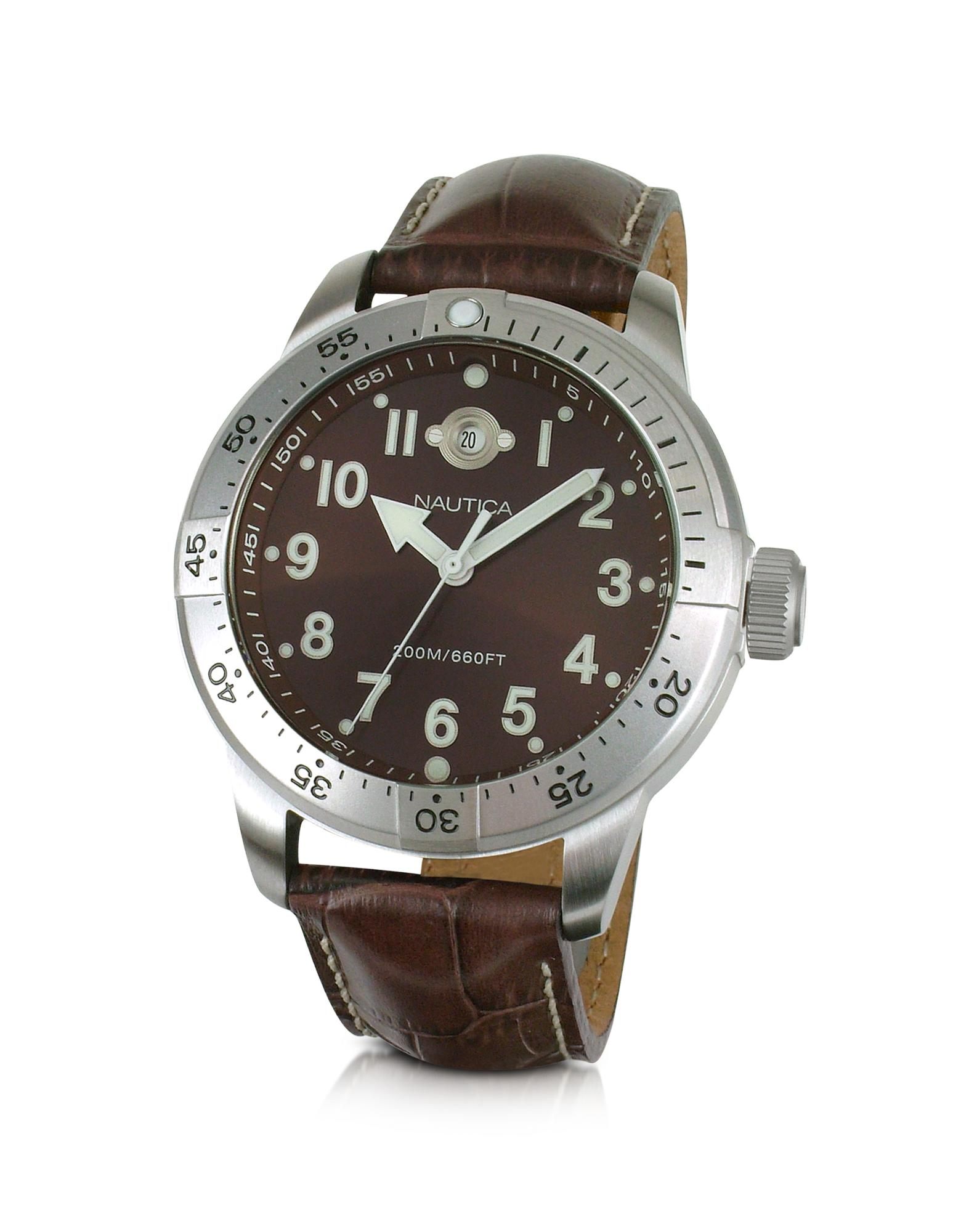 Nautica  BFC Diver - Brown Stainless Steel and Leather Date Watch