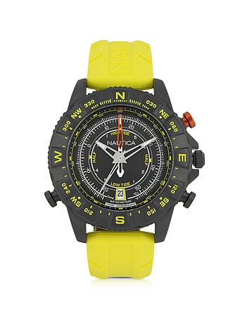 Nautica - NSR 103 Tide Compass Black Stainless Steel Case and Yellow Rubber Strap Men's Watch