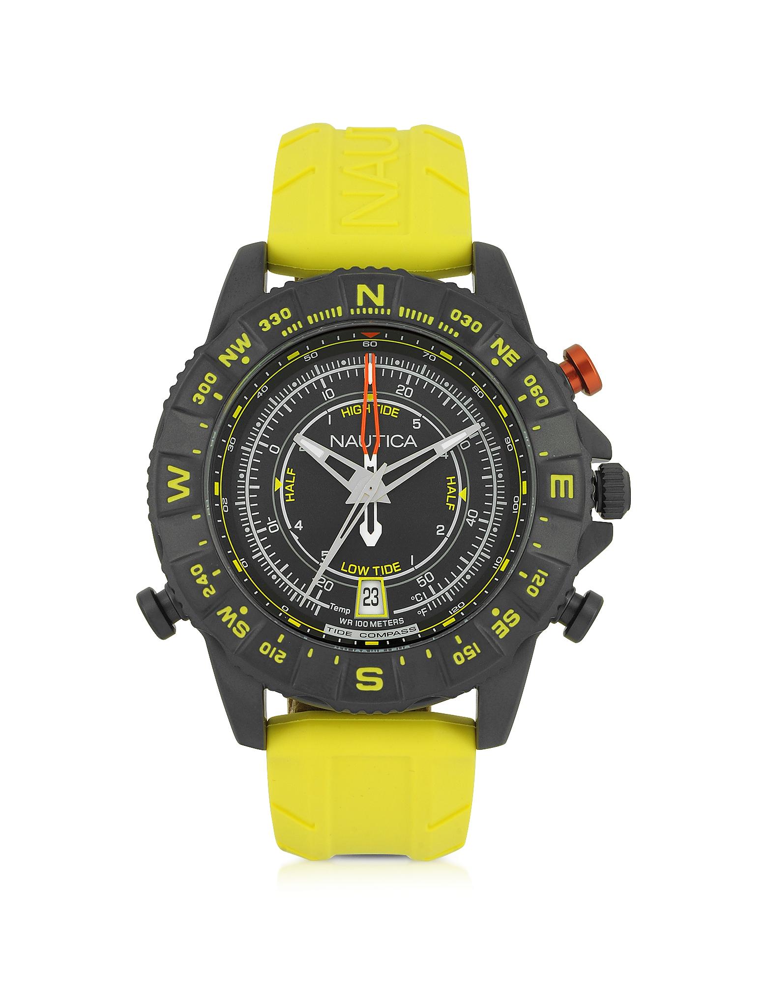 NSR 103 Tide Compass - Черные Мужские Часы из Нержавеющей Стали с Желтым Каучуковым Ремешком
