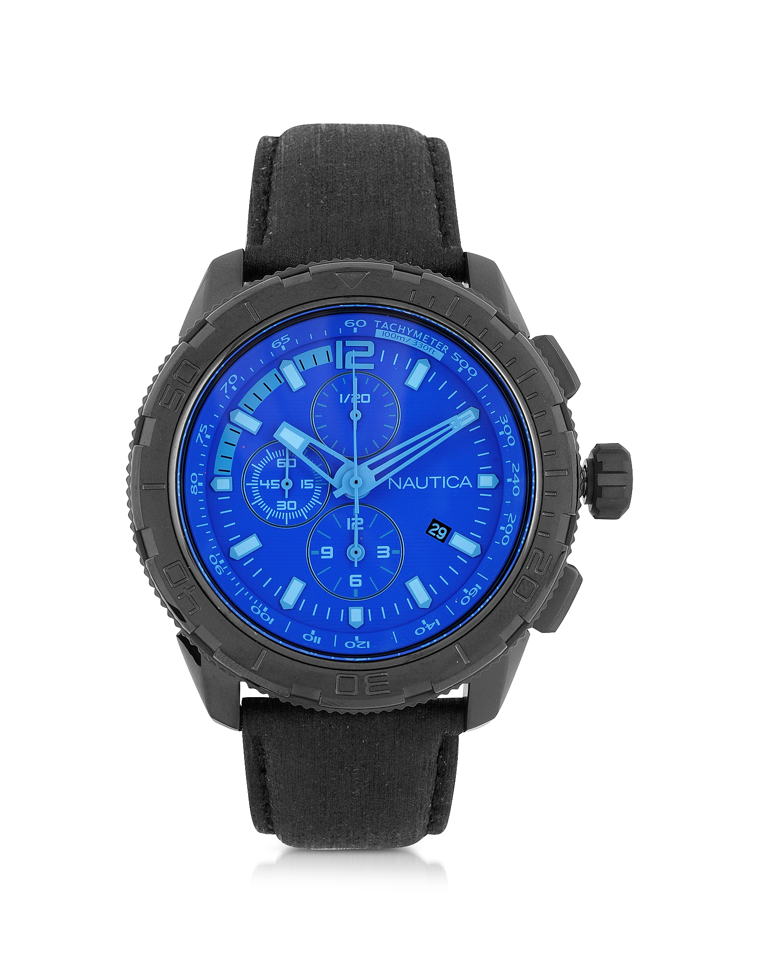 NAUTICA | Nautica Designer Men's Watches, NST 101 Black Stainless Steel Case and Leather Strap Men's Chronograph Watch | Goxip