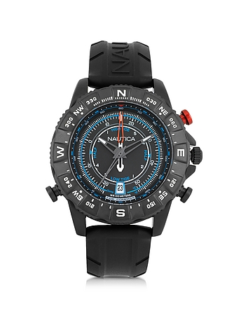 Nautica - NSR 103 Tide Compass Black Stainless Steel Case and Rubber Strap Men's Watch