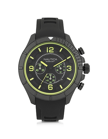 Nautica - Black Stainless Steel Case and Rubber Strap Men's Watch