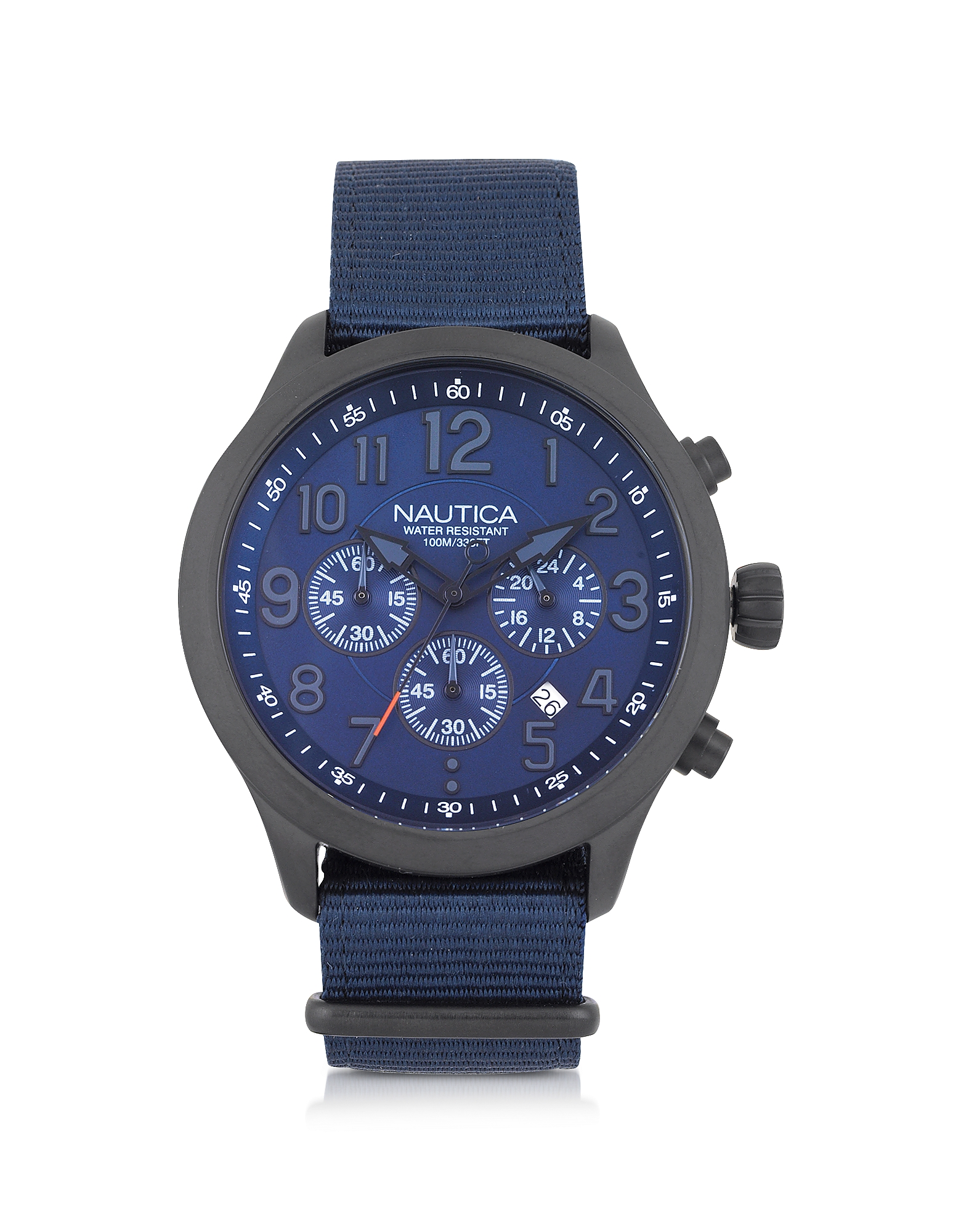 Nautica Men's Watches, Black Matte Stainless Steel Dial and Navy Blue Fabric Strap Men's Watch