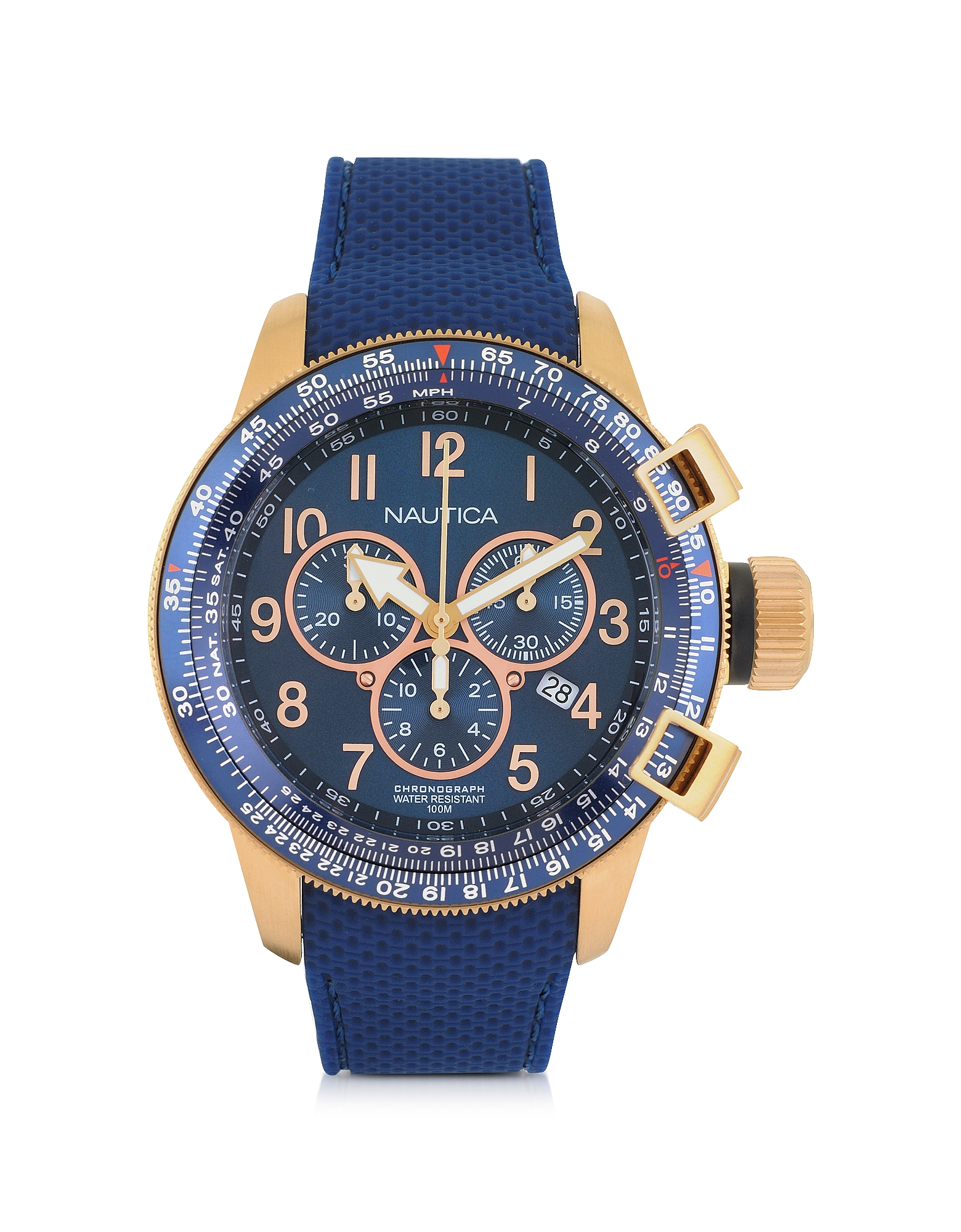 Nautica Men's Watches, Gold Tone Stainless Steel Case and Blue Rubber Strap Men's Watch