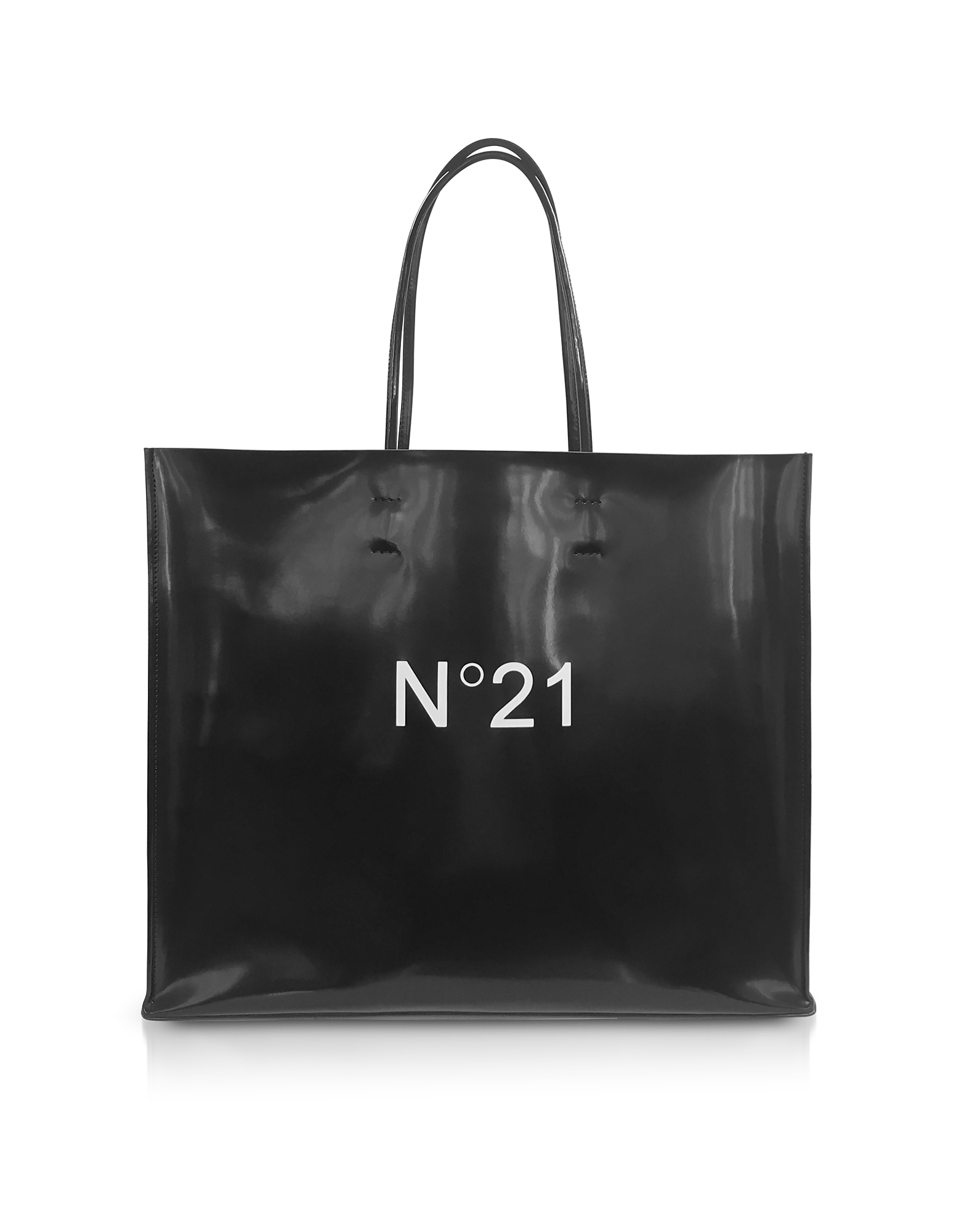 N°21 Handbags, Black Patent Eco-Leather Large Tote Bag