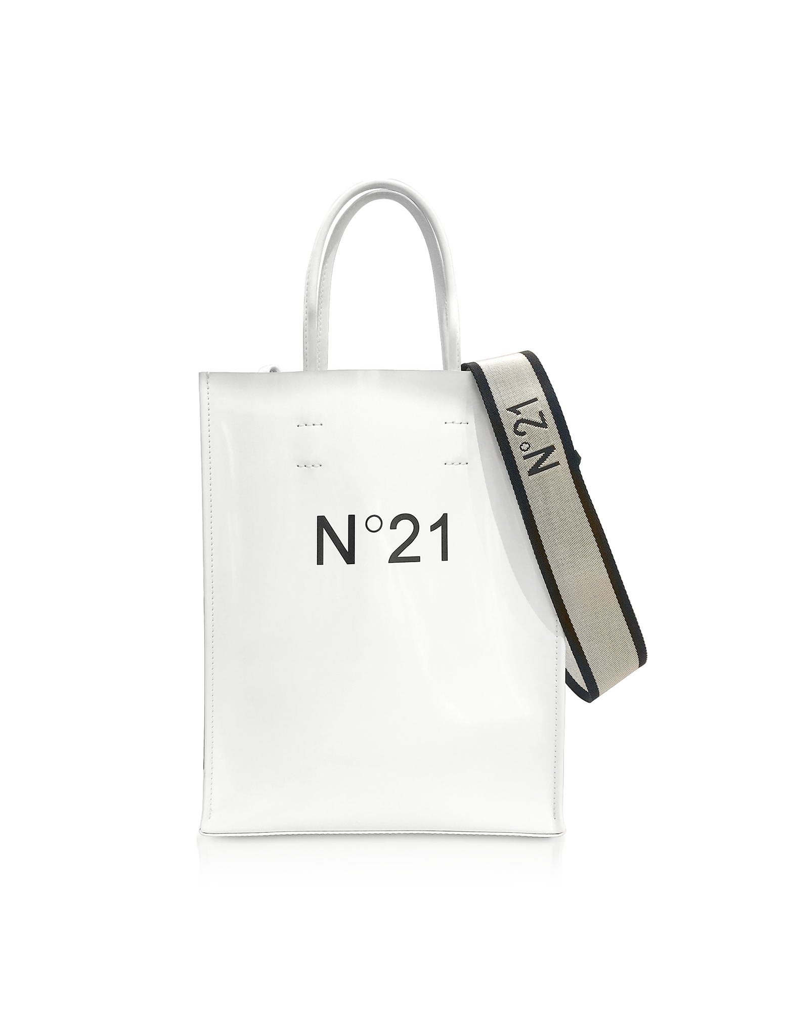 N°21 Handbags, White Patent Eco-Leather Small Tote Bag