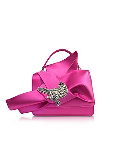 Fuchsia Satin Embroidered Crossbody Bag w/Iconic Bow On Front - N°21