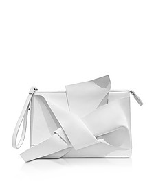 White Leather Clutch w/Iconic Bow On Front - N°21