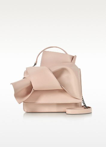 Nude Leather Crossbody Bag w/Iconic Bow On Front - N°21