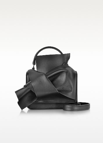 Black Leather Micro Crossbody Bag w/Iconic Bow On Front - N°21