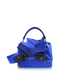 Bluette Satin Micro Crossbody Bag w/Iconic Bow On Front and Black Crystals - N°21