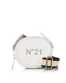 White Leather Oval Crossbody Bag w/Canvas Shoulder Strap - N°21