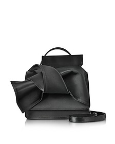 Black Satin Silk Crossbody Bag w/Iconic Bow On Front - N°21