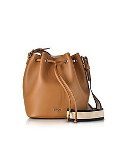 棕色皮革水桶包配帆布肩带 - N°21