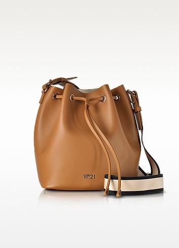 Brown Leather Bucket Bag w/Canvas Shoulder Stap - N°21