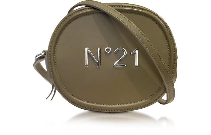 Military Green Leather Oval Crossbody Bag w/Metallic Embossed Logo  - N°21
