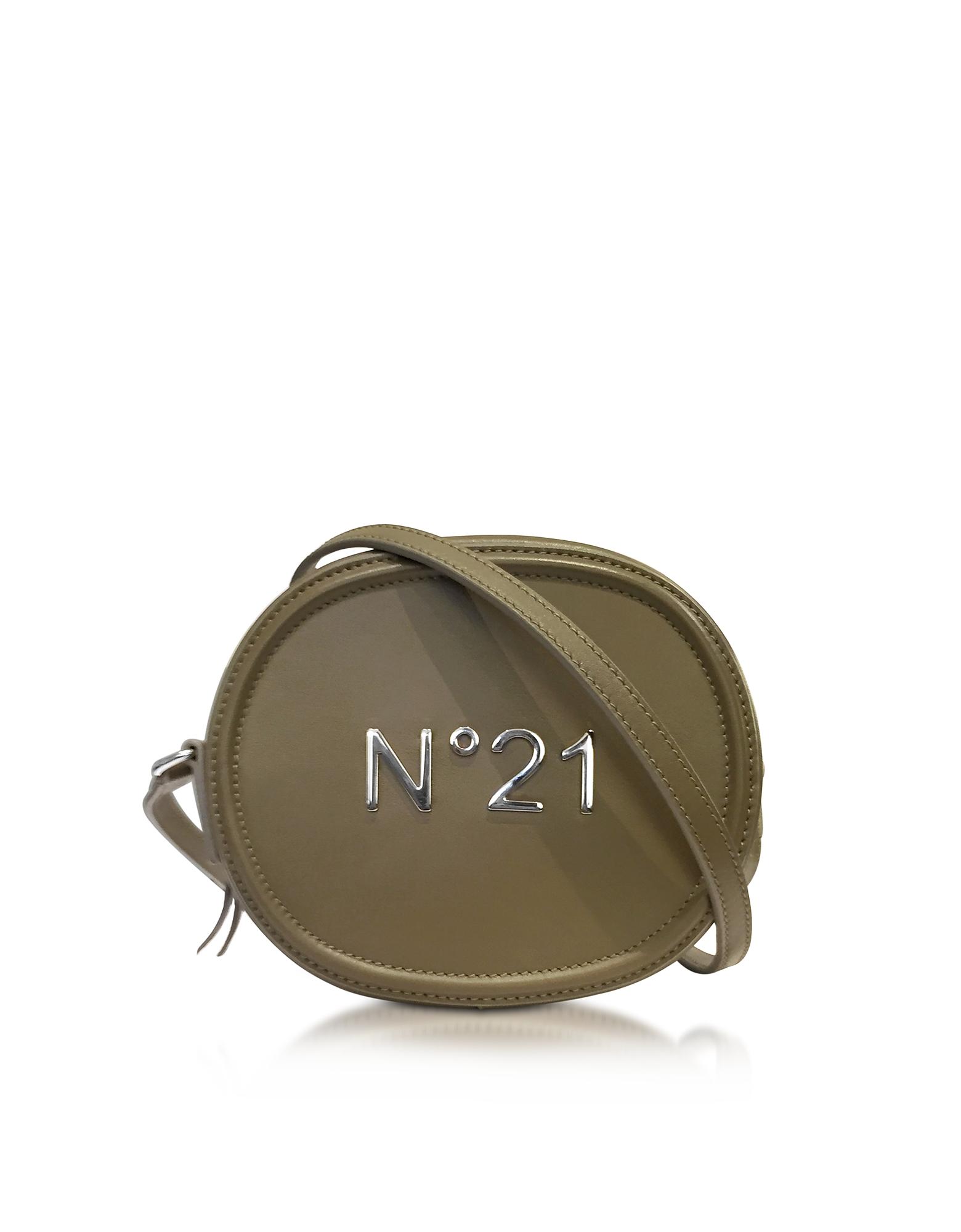 Фото Овальная Сумка Через Плечо из Кожи Военного Зеленого Оттенка с Логотипом. Купить с доставкой