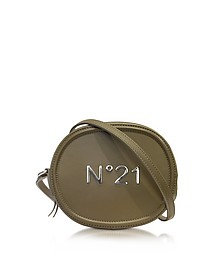 Military Green Leather Oval Crossbody Bag w/Metallic Embossed Logo  - N°21