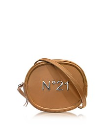 Brown Leather Oval Crossbody Bag w/Metallic Embossed Logo - N°21