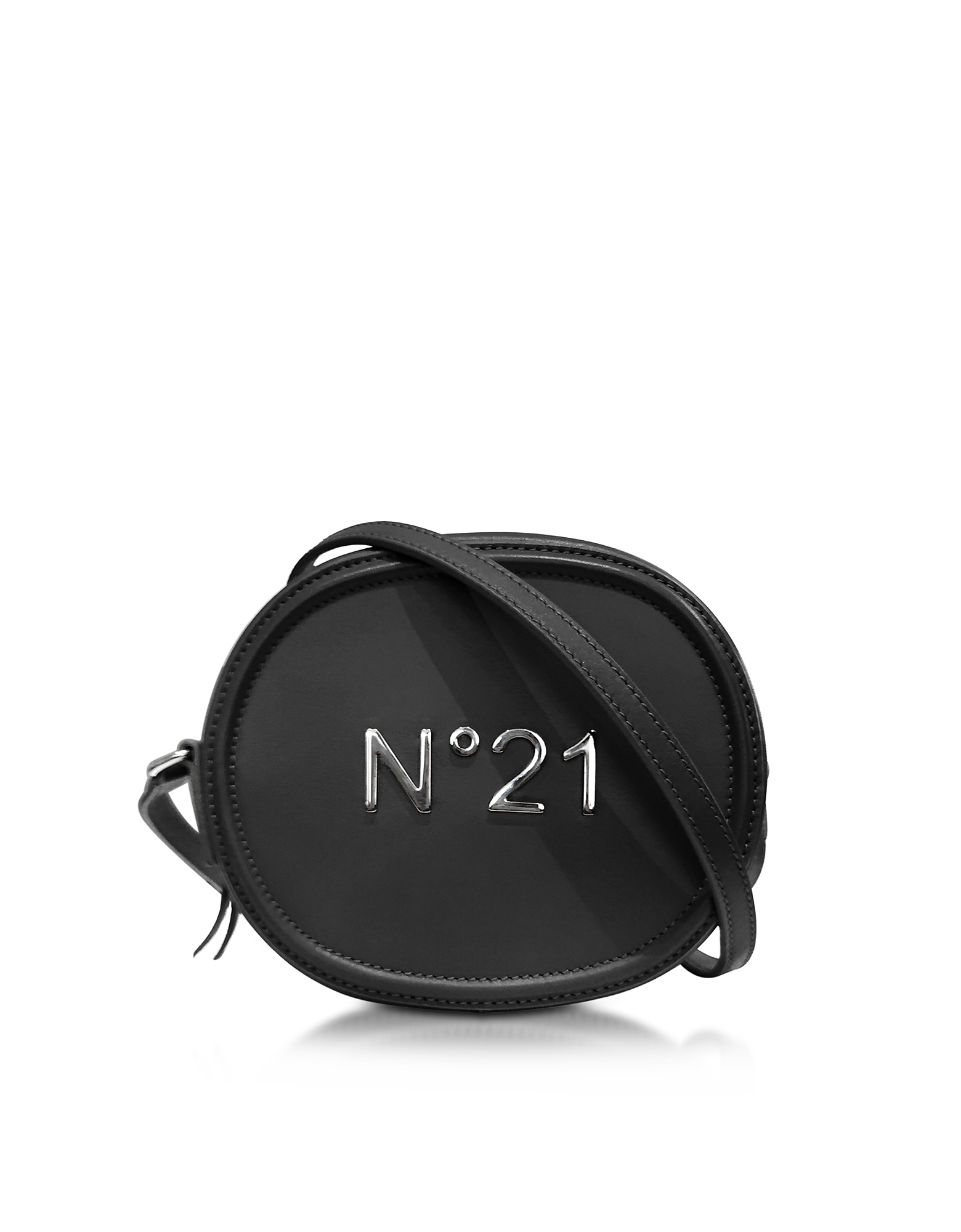 N°21 Black Leather Oval Crossbody Bag w/Metallic Embossed Logo