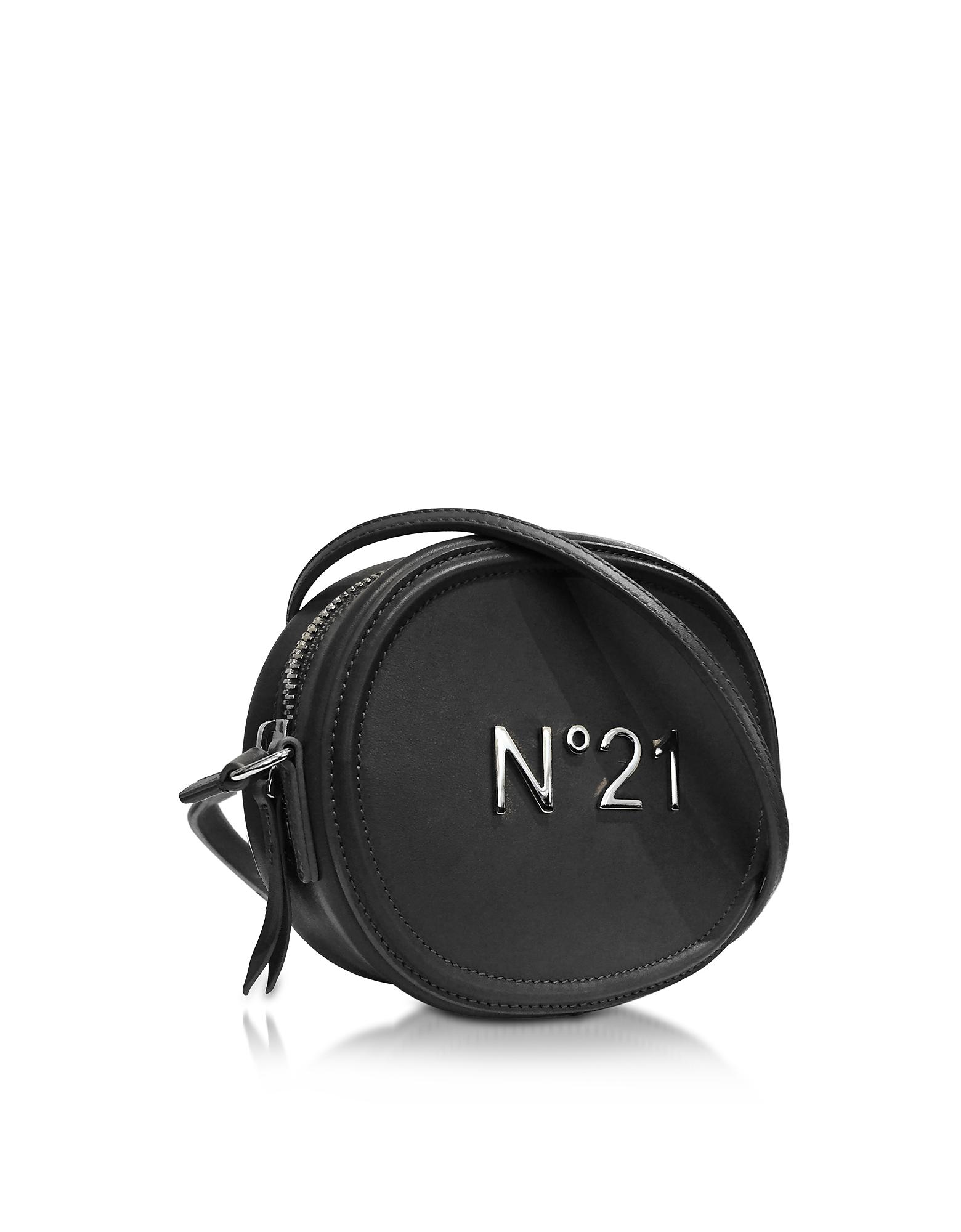 Фото Черная Овальная Кожаная Сумка Через Плечо с Логотипом. Купить с доставкой