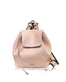 Nude Leather Backpack w/Canvas Shoulder Straps - N°21