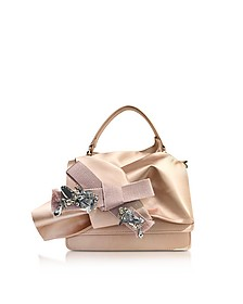 Nude Satin Micro Crossbody Bag w/Iconic Bow On Front and Silver Crystals - N°21