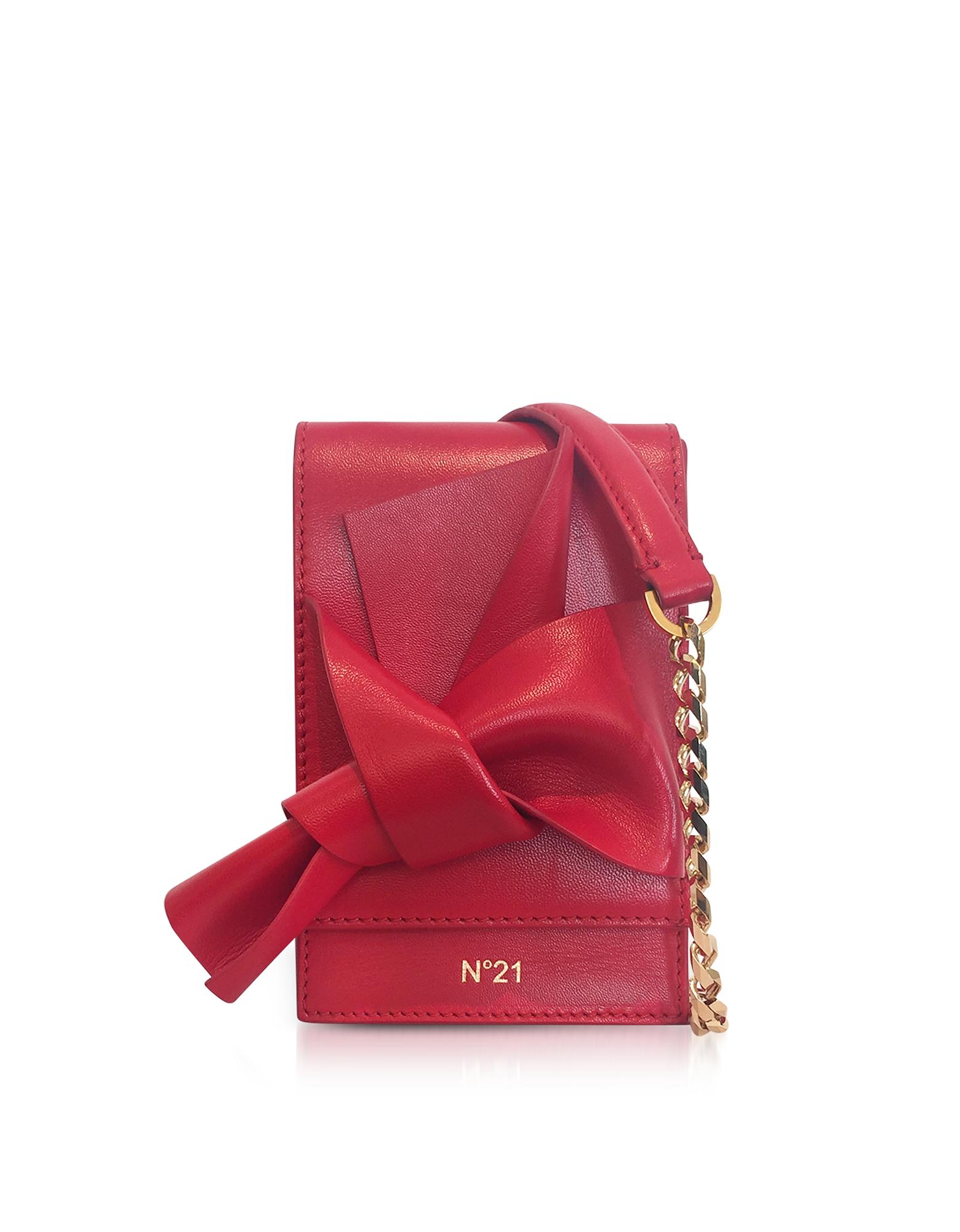Micro Bow Bag in Pelle Rosso Lipstick con Maxi Fiocco