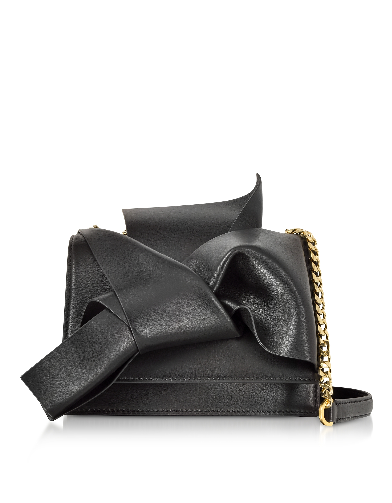 Small Bow Bag in Nappa con Tracolla
