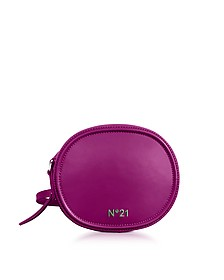 Bluette Leather Oval Crossbody Bag w/Metallic Embossed Logo  - N°21