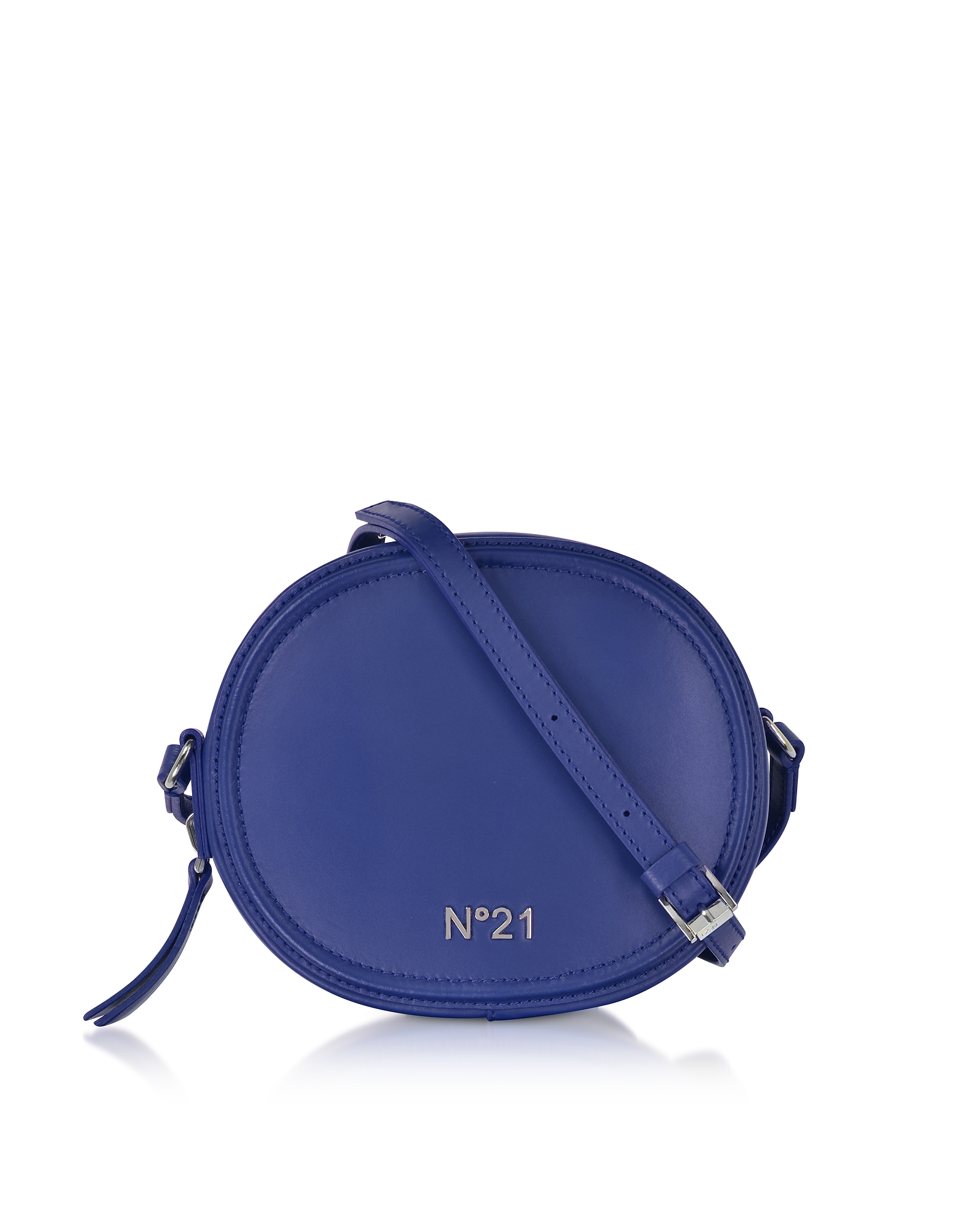 N°21 Handbags, Bluette Leather Tambourine Crossbody Bag w/Metallic Embossed Logo
