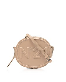 Beige Leather Oval Crossbody Bag w/Metallic Embossed Logo - N°21