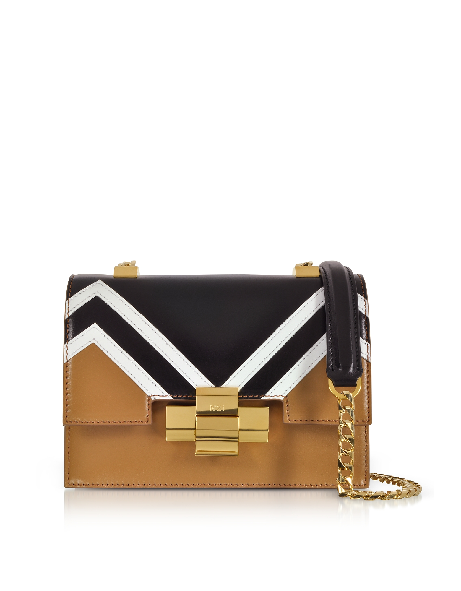 Mini Alice Borsa con Tracolla in Nappa Cammello e Nero
