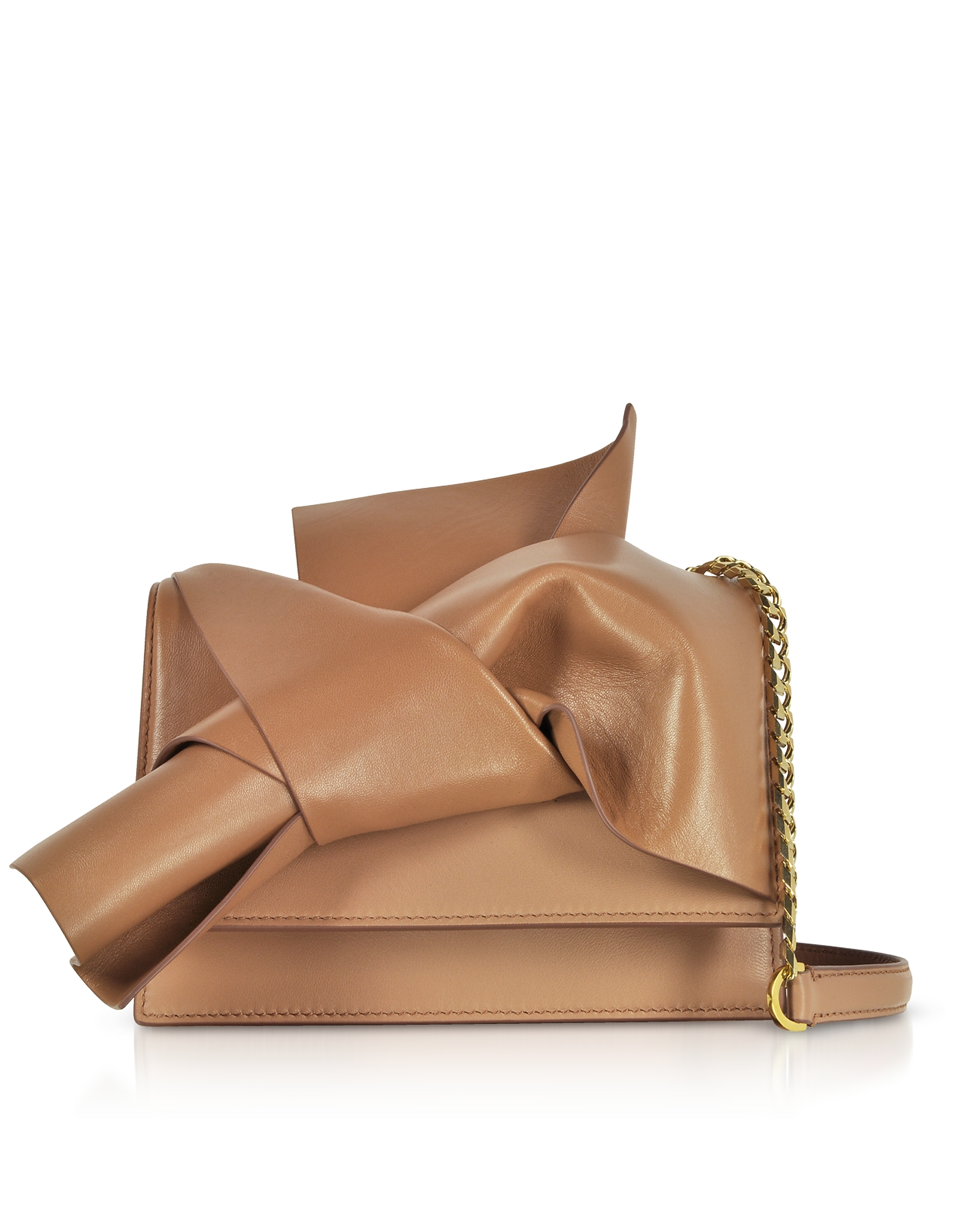 Small Bow Bag in Nappa Camel con Tracolla