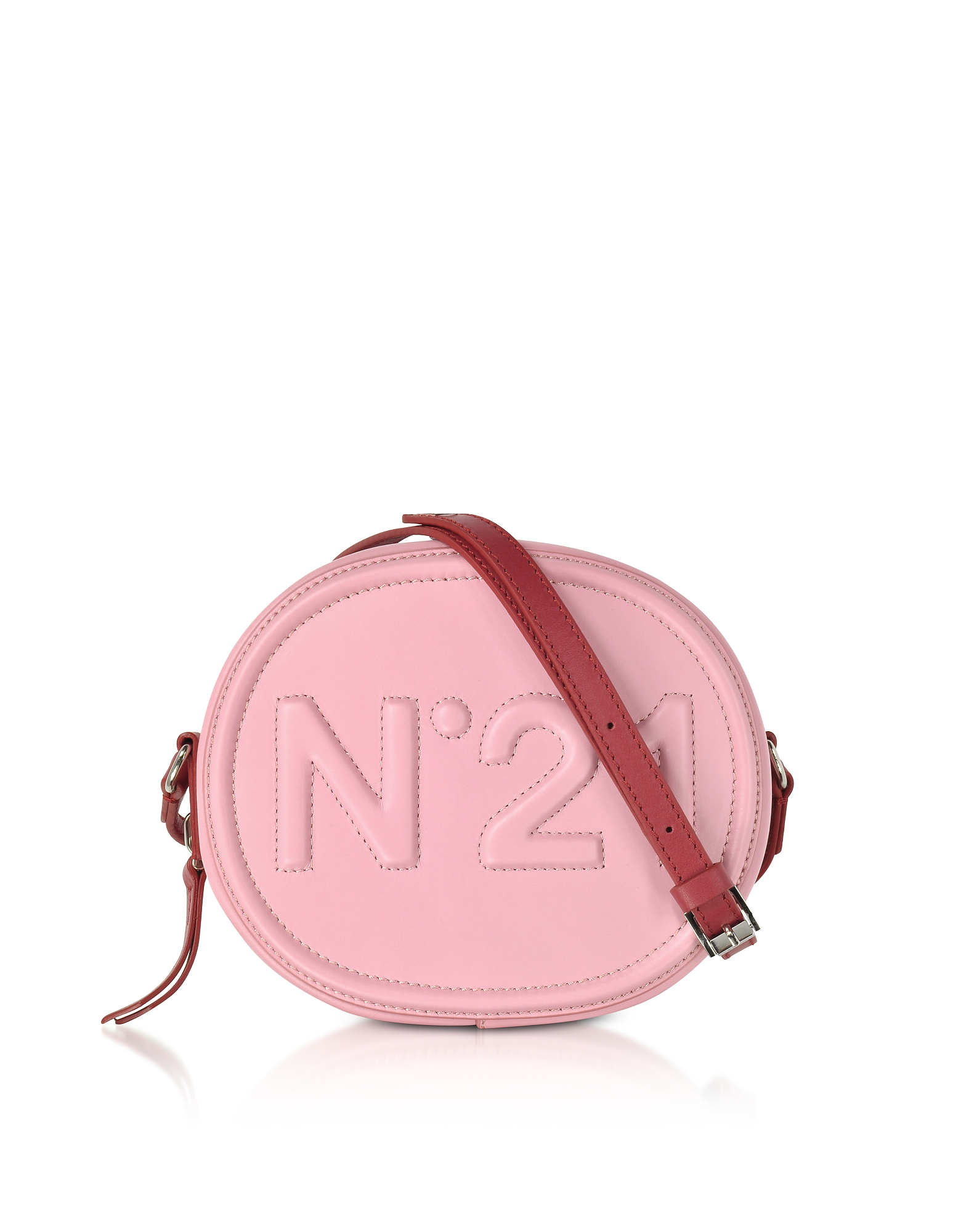 N°21 Handbags, Pink Leather Oval Crossbody Bag w/Embossed Logo