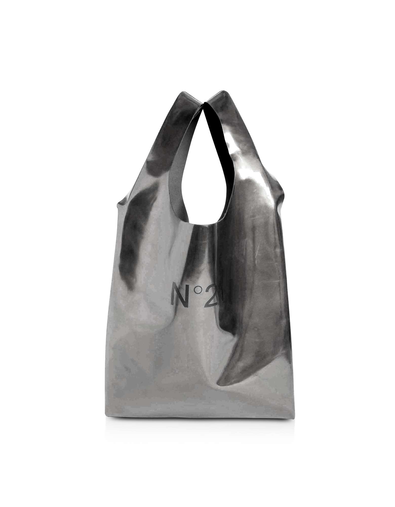Holographic Silver Signature Shopping Bag