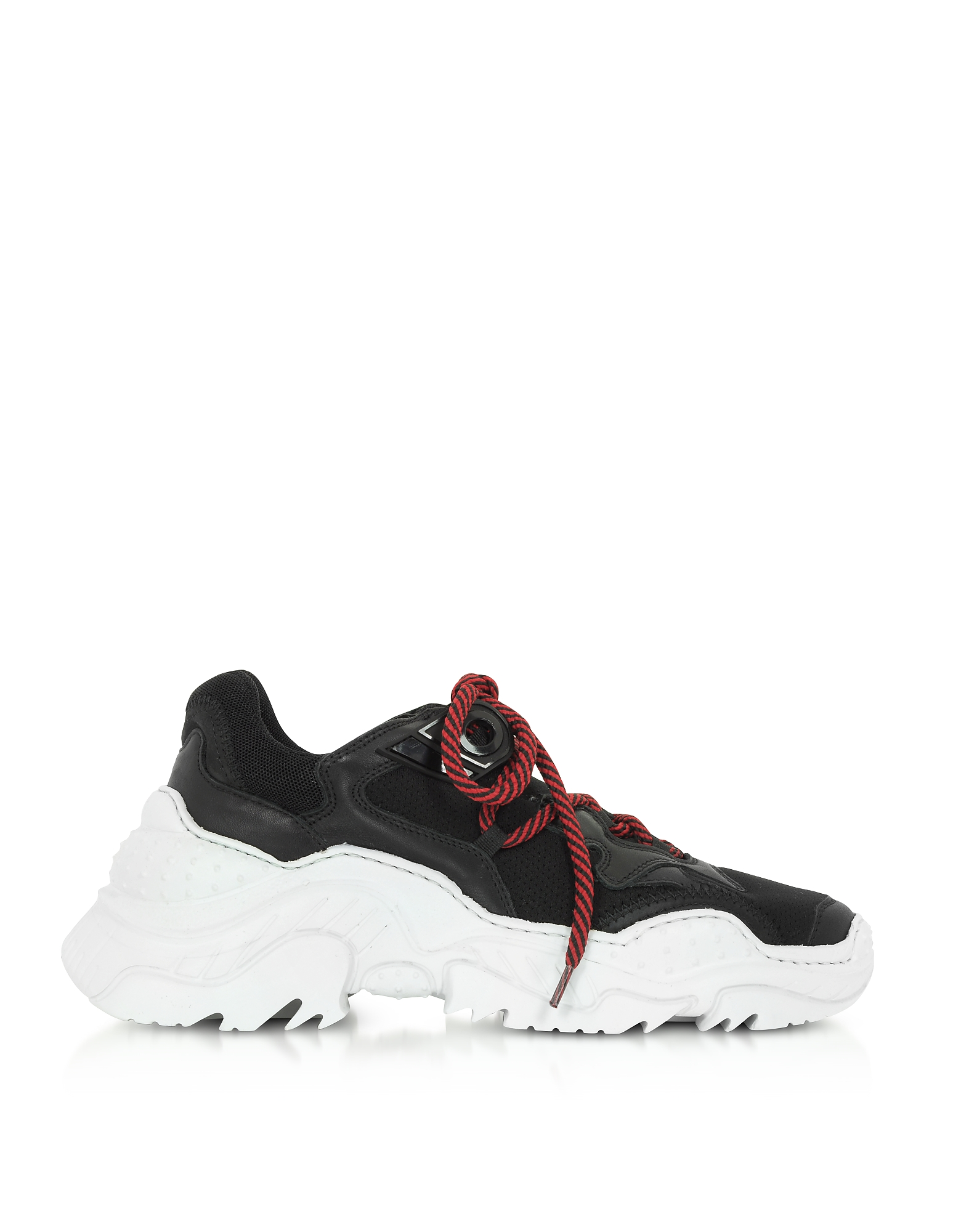 N°21 Designer Shoes, Black Synthetic & Leather Sneakers