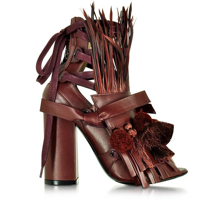 Burgundy Leather Heel Sandal w/Pom Pom Tassel & Fringe - N°21