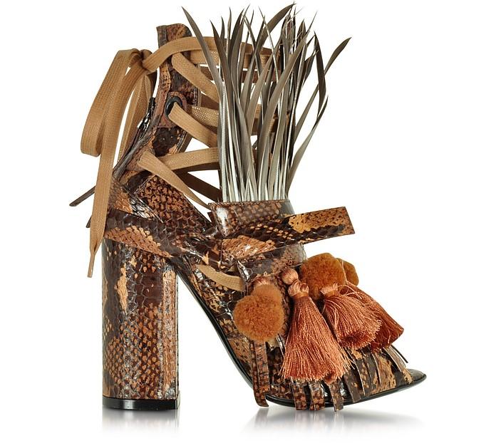Mustard Yellow Elaphe Heel Sandal w/Pom Pom Tassel & Fringe - N°21