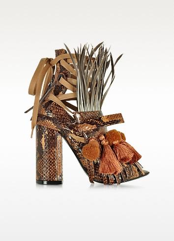 Sandales à Talons en Élaphe Jaune Moutarde avec Pompons et Franges - N°21