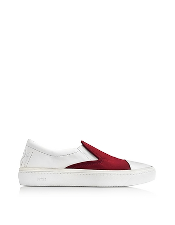 N 21 - Burgundy Satin & White Leather Slip-on Sneaker