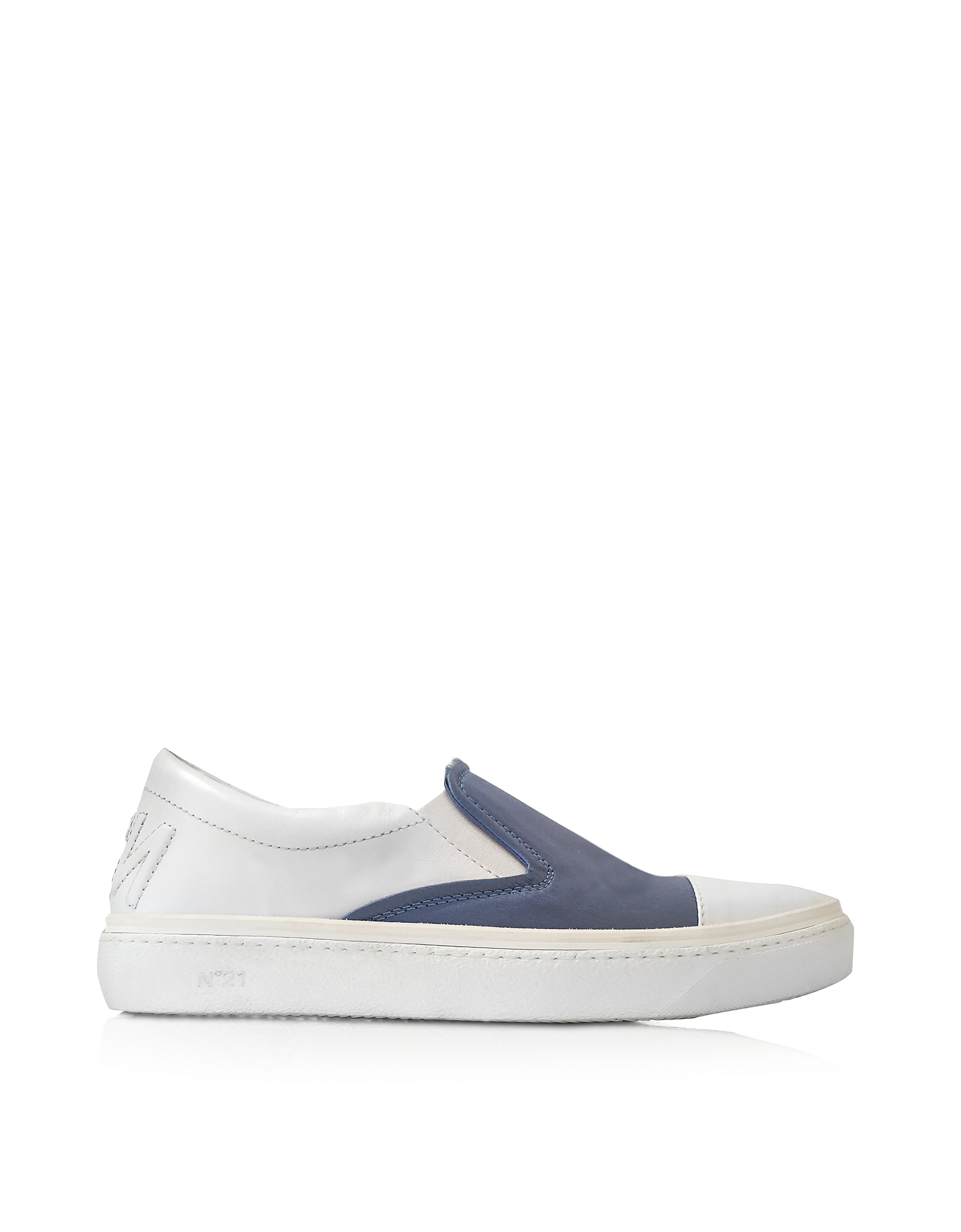 N°21 Shoes, Cerulean Blue Satin & White Leather Slip-on Sneaker