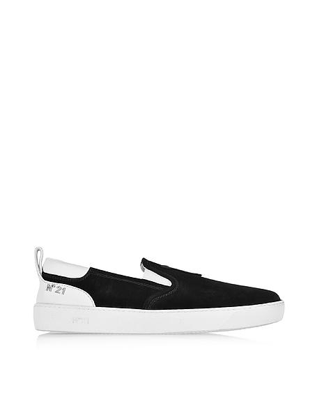 Foto N°21 Sneaker Slip On da Uomo in Suede Nero/Bianco Scarpe