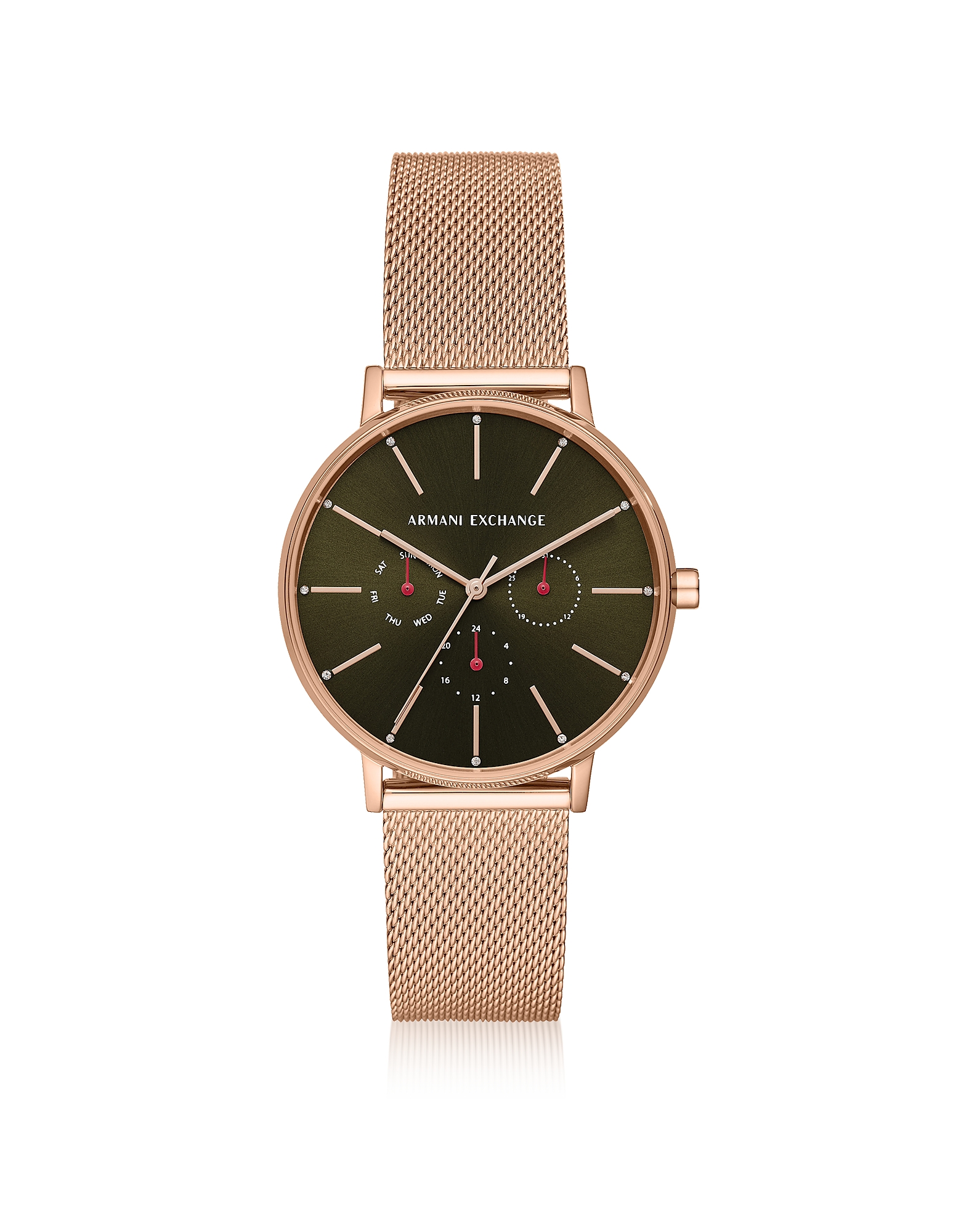 Lola - Часы Хронограф Оттенка Розового Золота с Сетчатым Браслетом ARMANI EXCHANGE