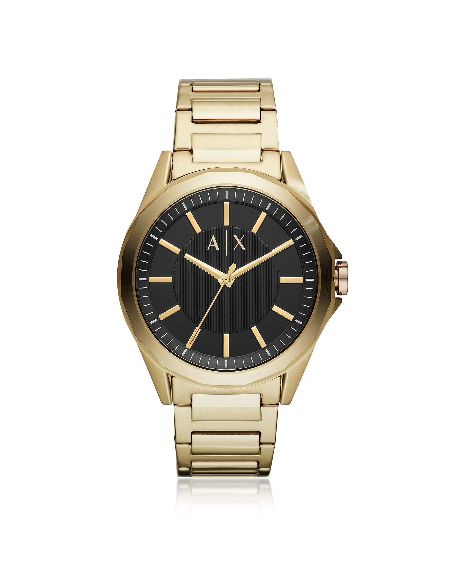 Drexler Gold Tone Stainless Steel Three-Hand Bracelet Watch