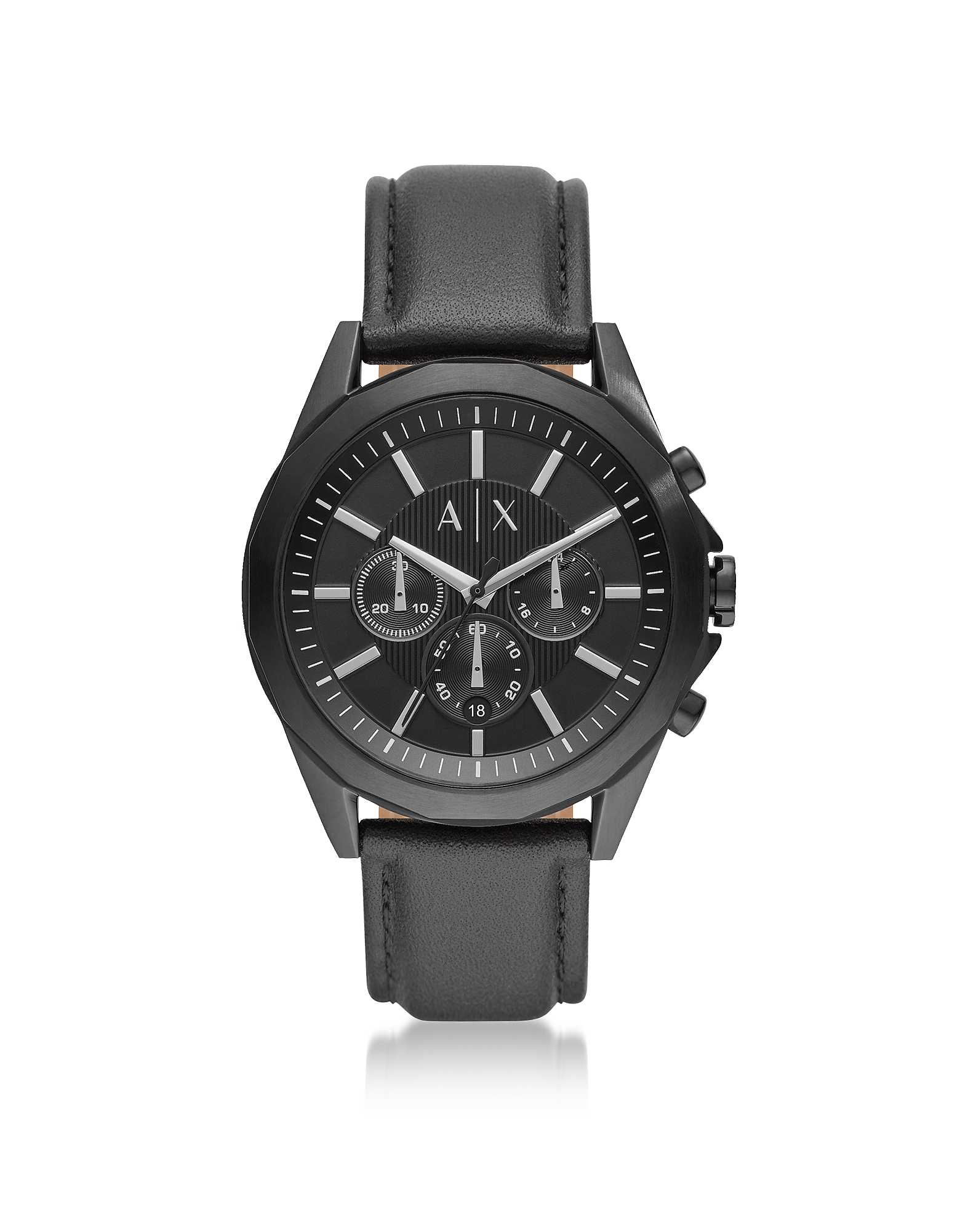 Drexler Black Dial and Black Leather Men's Chronograph Watch