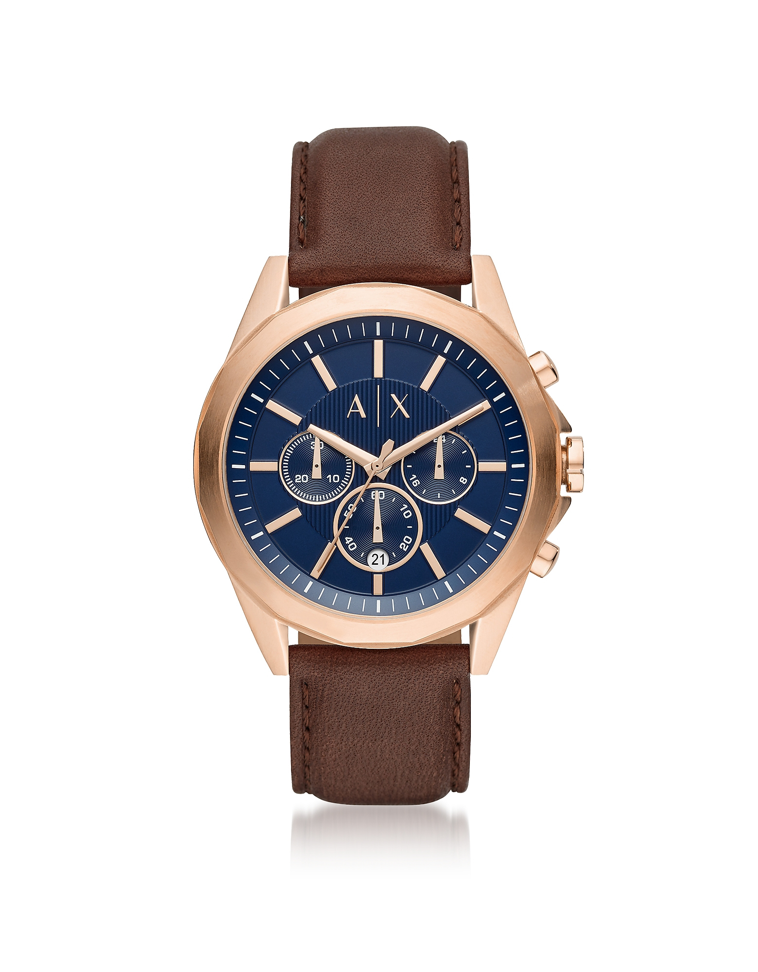 Drexler Blue Dial and Brown Leather Men's Chronograph Watch