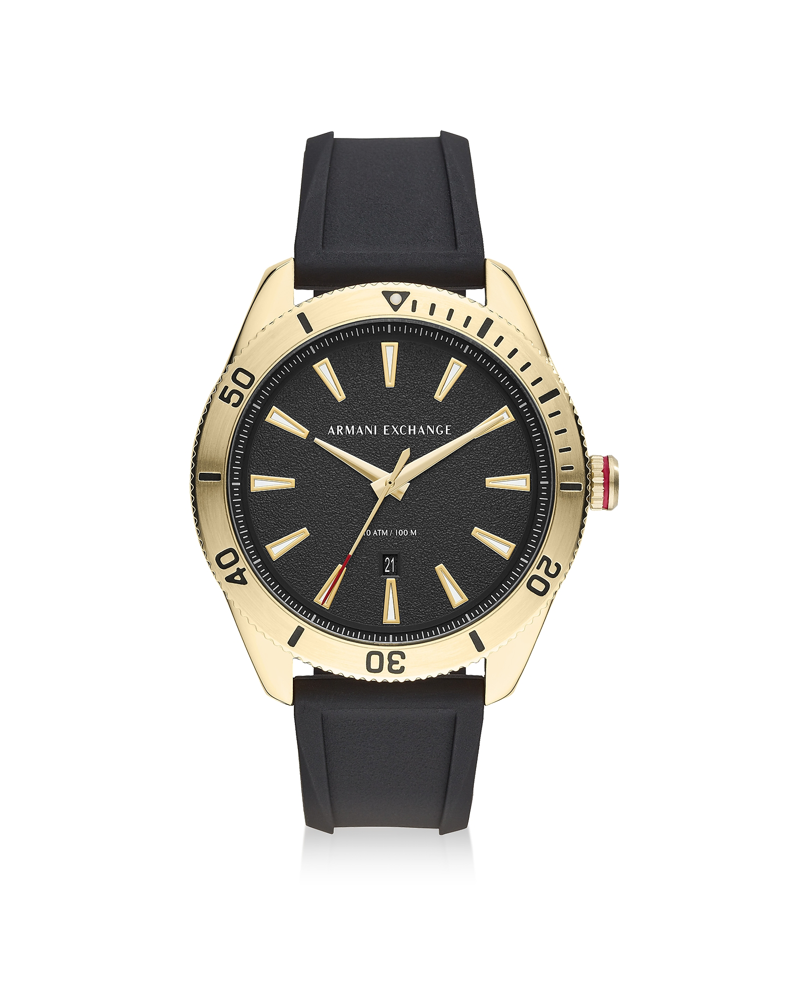 Enzo Gold Tone Stainless Steel Black Silicone Men's Chronograph Watch